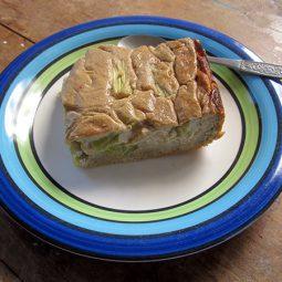 Rhubarb Cake with Cashew Vanilla Creme (Vegan, Gluten-free)