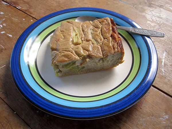 Rhubarb Cake with Cashew Vanilla Creme (Vegan, Gluten-free, Dairy-free, Egg-Free)