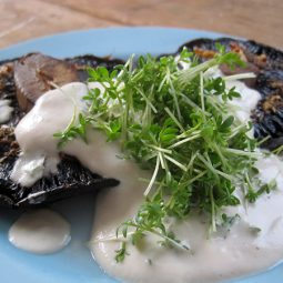 Grilled Portobello Mushrooms with Cashew Cream (Vegan)