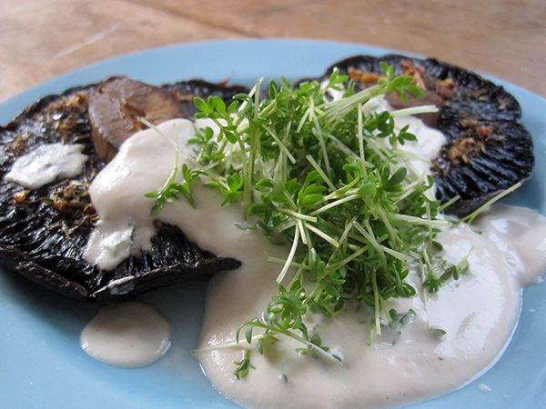 Grilled Portobello Mushrooms with Cashew Cream (Vegan, Gluten-free, Dairy-free)
