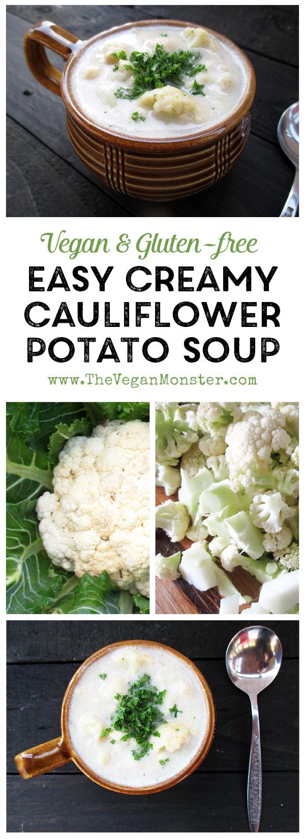Easy Creamy Cauli Potato Soup (Vegan, Gluten-free) | The Vegan Monster