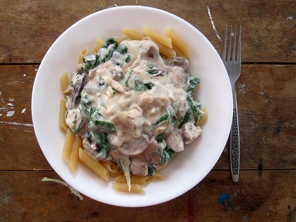 vegan gluten-free creamy mushroom silverbeet