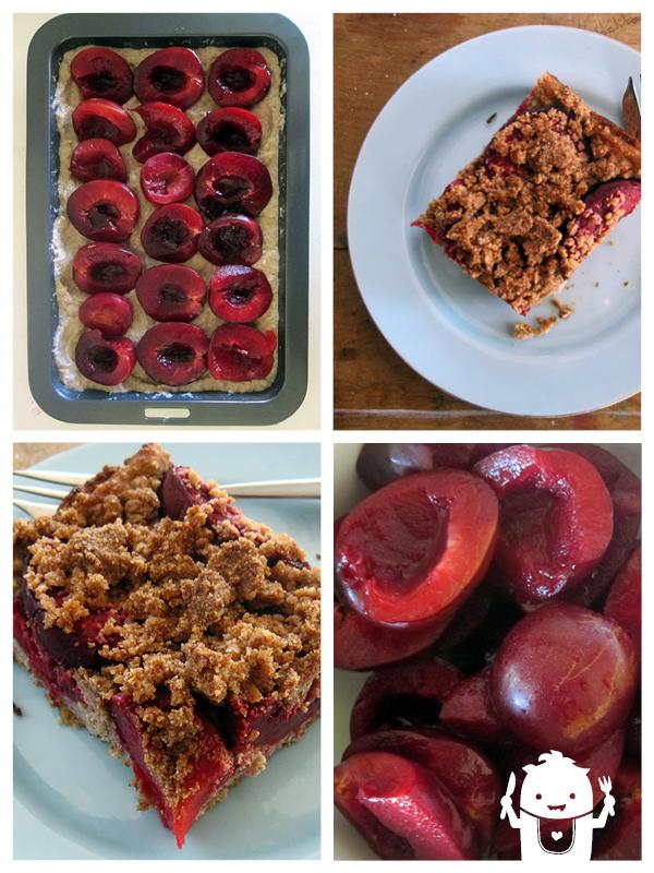 vegan gluten-free plum hazelnut crumble