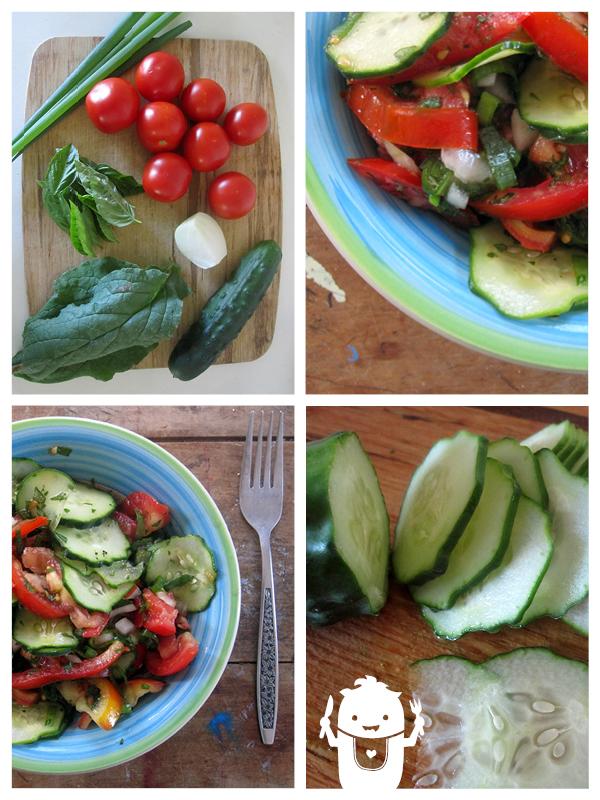 vegan tomato cucumber salad