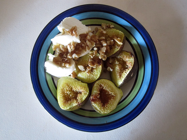 Vegan Gluten-free Roasted Fig with Vanilla Ice Cream