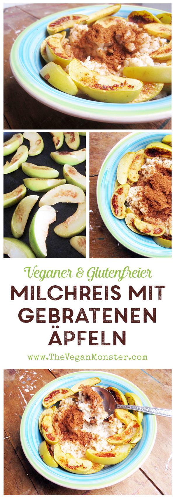 Glutenfreier Milchfreier Veganer Milchreis mit gebratenen Äpfeln und Zimt