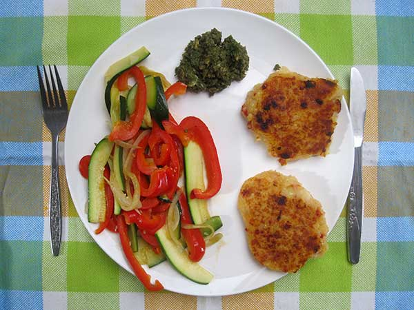 Potato Cakes with Veges and Pesto (Vegan, Gluten-free)