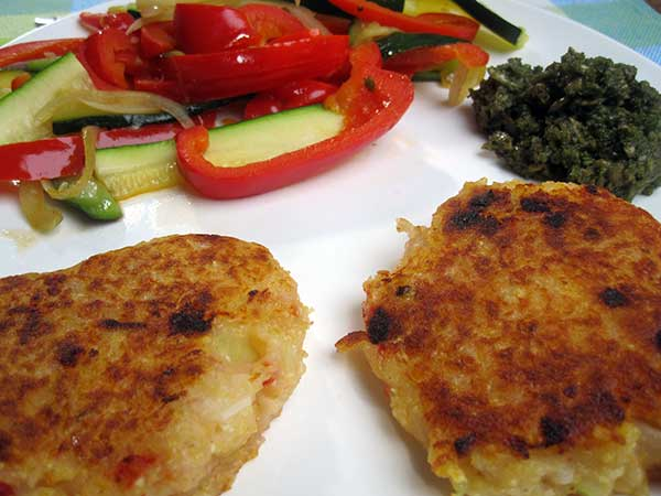 Vegan Potato Cakes with Veges and Pesto
