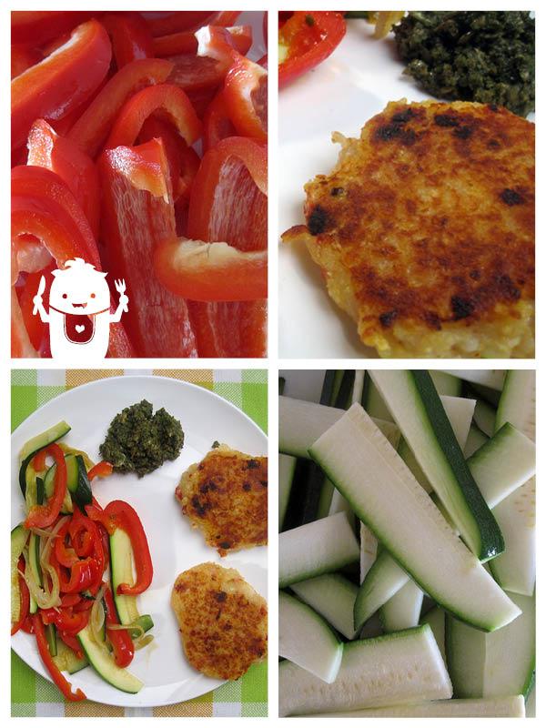 Vegan Potato Cakes with Veges and Pesto