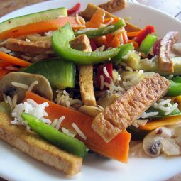 Quick Veges with Rice and Tofu Strips (Vegan, Gluten-free)