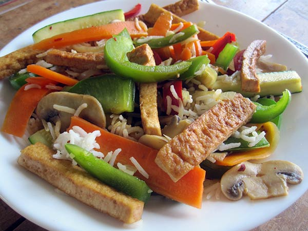 Asian Inspired Veges with rice and tofu stripes (Vegan, Gluten-free)