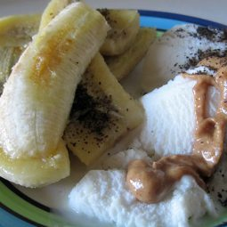 Fried Banana with Vanilla-Ice-Cream and Almond Butter