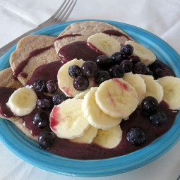 Walnut Pancakes with Banana & Blueberries (Vegan, Gluten-free)