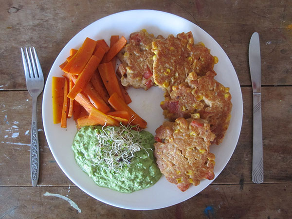 Capsicum Corn Fritters with Carrots and Raw Parsley Sauce