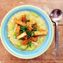 Leek Potato Soup with Smoky Tofu