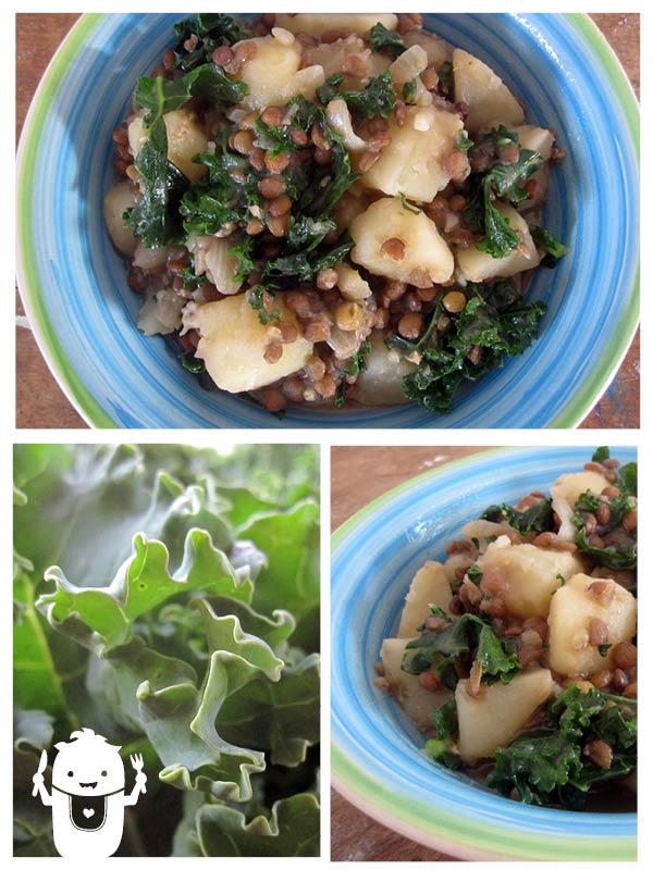 Vegan gluten-free potato lentil kale soup