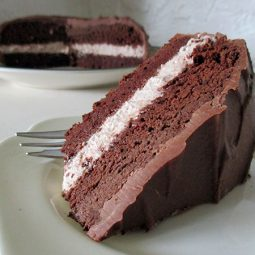 Chocolate Cake with Hazelnut Cream Filling (Vegan, Gluten-free)