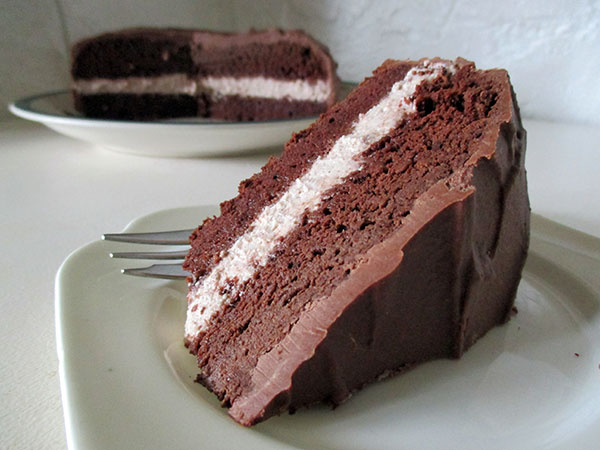 Vegan Gluten-free Chocolate Cake with Hazelnut Cream Flling