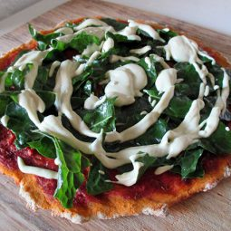 Silverbeet Pizza With Yeast-Free Base (Vegan, Gluten-free)