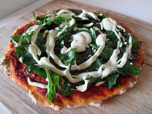 Vegan Gluten-free Yeast-free Silverbeet Chard Pizza