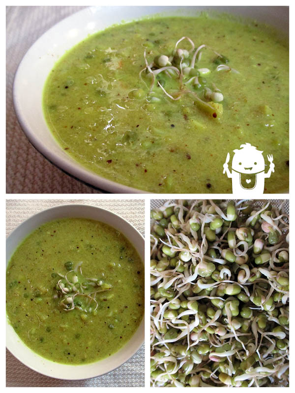 Vegan Gluten-free Cauliflower Curry Soup Mung Bean Sprouts