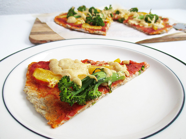 Vegan Gluten-free Yeast-free Pizza with Capsicum and Broccoli