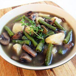Grüne Bohnen Pilz Suppe