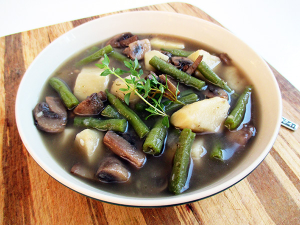 Vegan Gluten-free Mushroom Green Bean Potato Soup