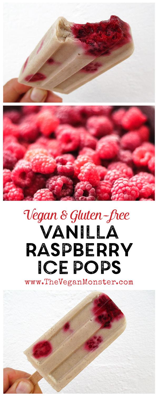 Vegan Gluten-free Dairy-free Vanilla Raspberry Ice Pops