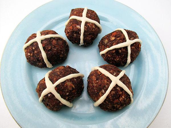 Vegan Gluten-Free Raw Mini Hot-Cross Buns