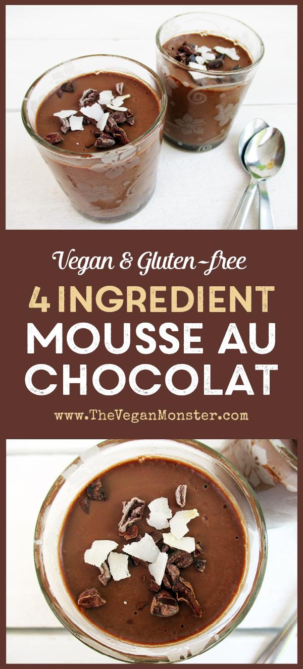4 Ingredient Vegan Gluten-free dairy-free Egg-free Mousse Au Chocolat