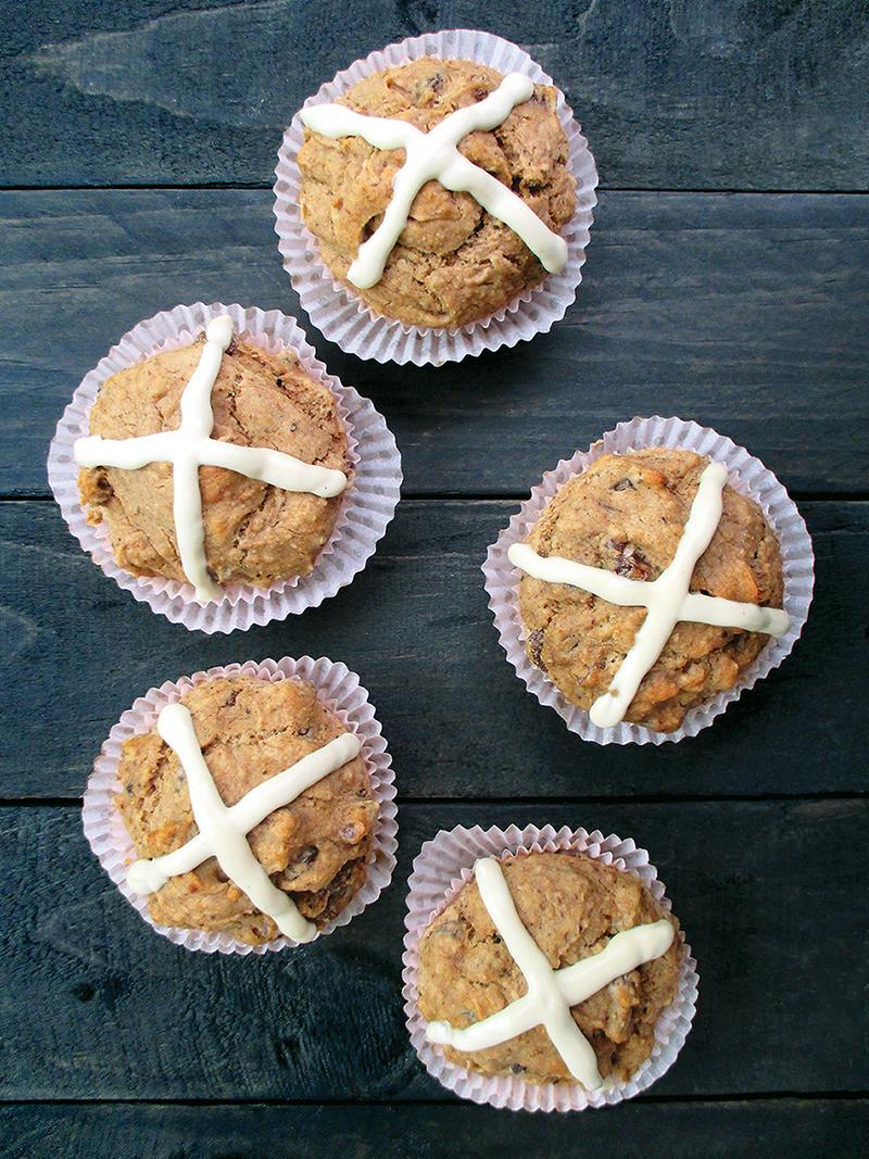 Vegan Gluten free Yeast free Fruit Sweetened Hot Cross Muffins Recipe 1