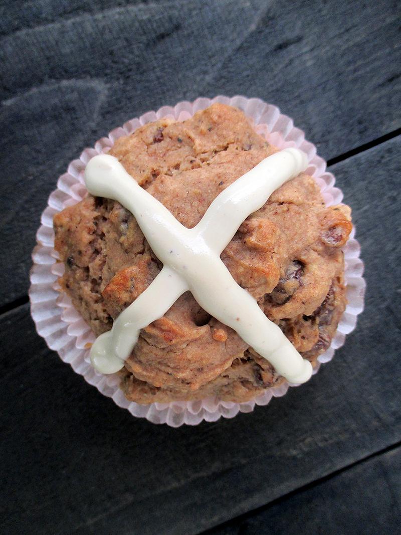 Vegan Gluten free Yeast free Fruit Sweetened Hot Cross Muffins Recipe 2