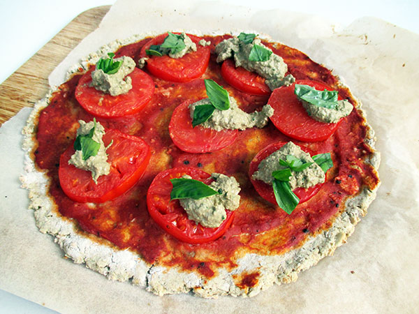 Vegan Gluten-free Yeast-Free Pizza with Tomatoes and Basil Pesto