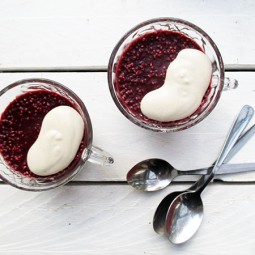 Raw Chia Berry Gelly with Vanilla Cashew Sauce (Gluten-free, Vegan)