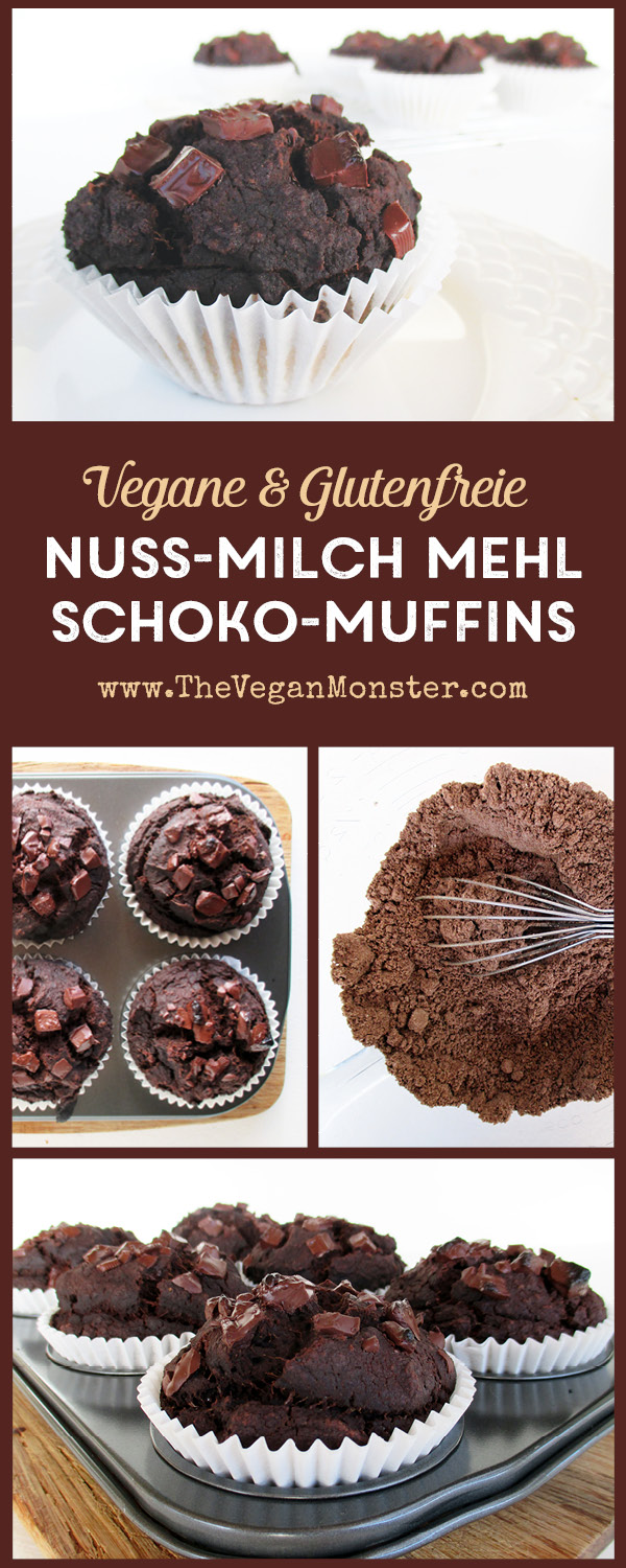 Vegan Gluten-free Egg-free Dairy-free Chocolate Muffins Made From Nut-Pulp