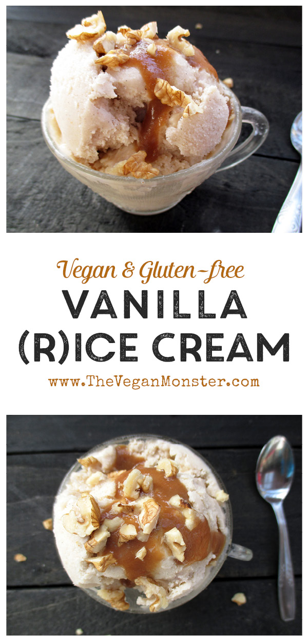 Dairy-free Vegan Gluten-free Vanilla Rice Ice Cream With Salted Caramel Sauce