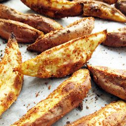 Oil-free, Crispy Sweet Potato Wedges (Vegan, Gluten-free)