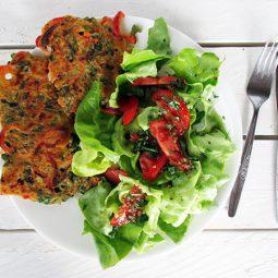 Watercress Capsicum Fritters (Vegan, Glutenfrei)
