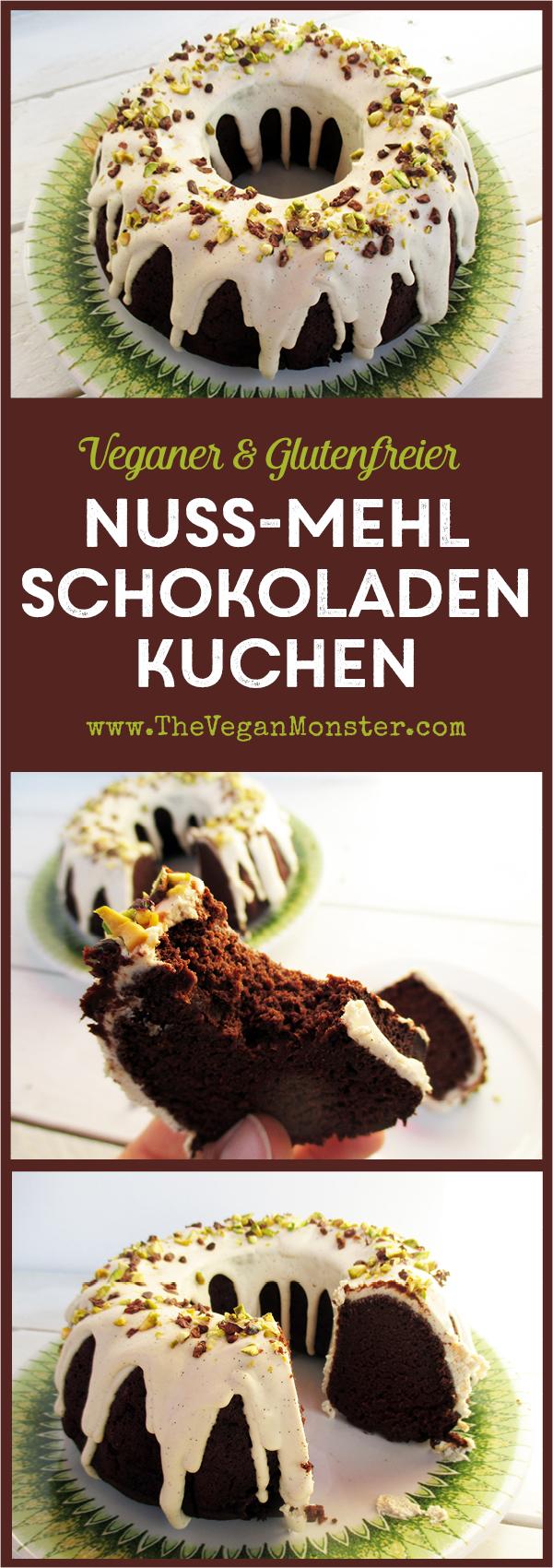 veganer Glutenfreier Milchfreier Nuss,ilch Mehl Schokoladenkuchen mit Vanille Glasur