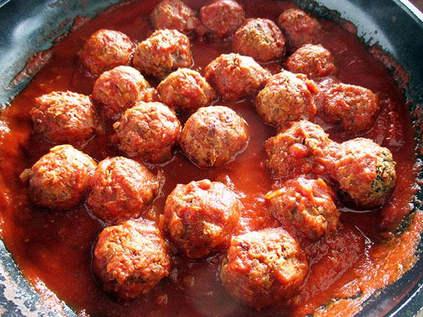 Vegetarian Vegan Gluten-free Egg-free Meat-free Balls with Tomato Sauce