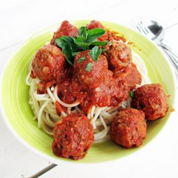 No-Meat Ball & Tomato Sauce (Vegan, Gluten-free, Soy-free, Nut-free, Oil-free Option)