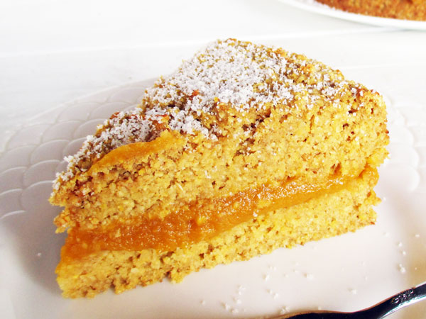 Vegan Gluten-free Oil-free Low-fat Egg-free Dairy-free Polenta Pumpkin Lemon Cake