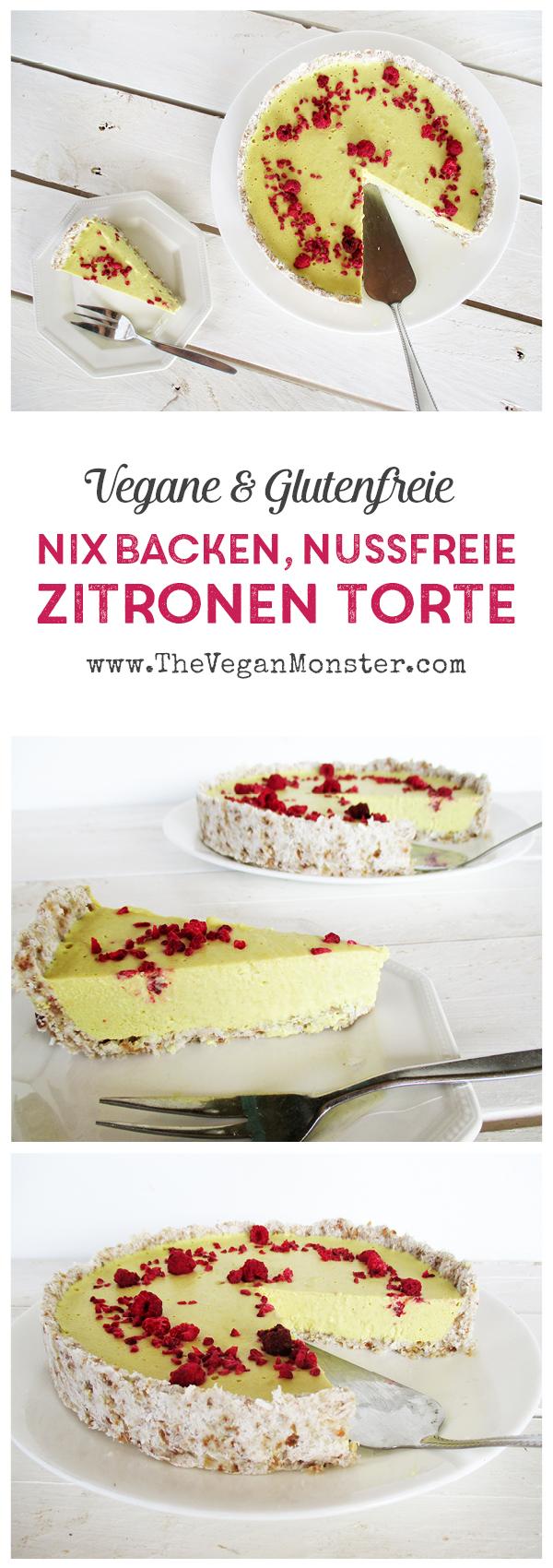 vegane Glutenfreie Nuss-freie Miclhfreie Nix-Backen Zitronentorte