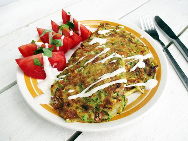 Vegan Gluten-free Egg-free Easy Tomato Basil Zucchini Fritters