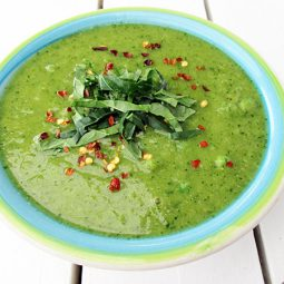 Grüne Power Suppe (Vegan, Glutenfrei, Low-Fat Option)