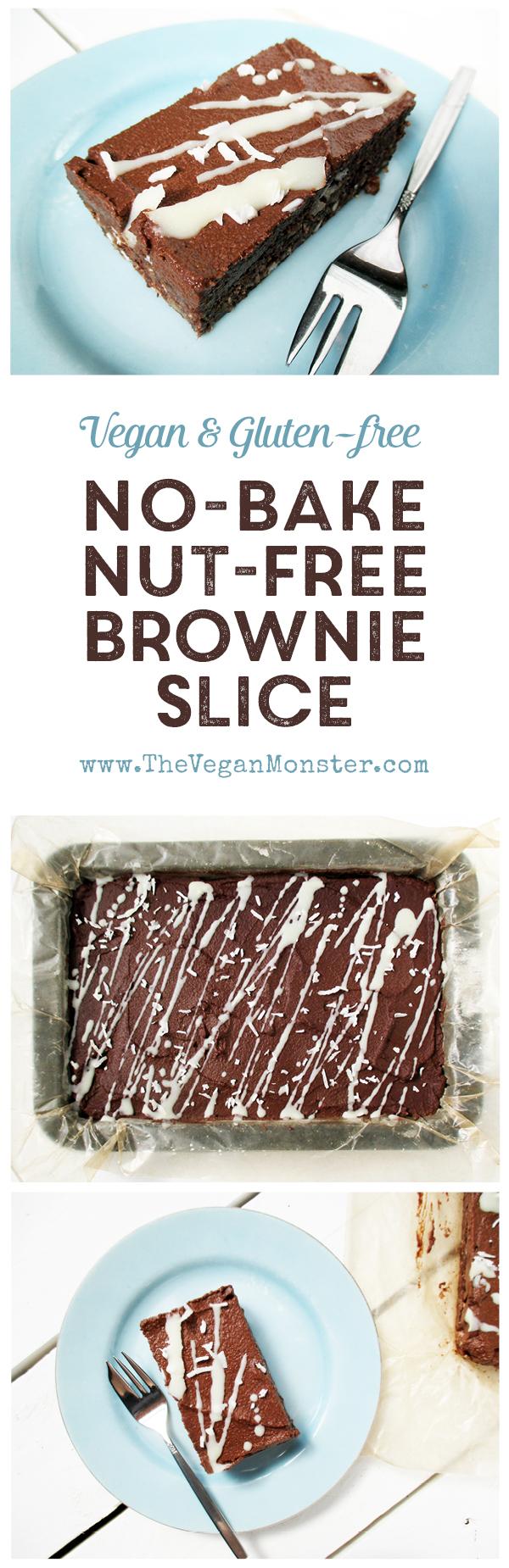 No-Bake Nut-free Gluten-free Vegan Refined Sugar Free Chocolate Brownie Slice Recipe