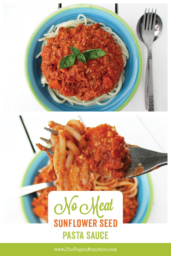 Vegan Gluten-free Soy-free Nut-free No Meat Sunflower Seed Bolognese Sauce Recipe