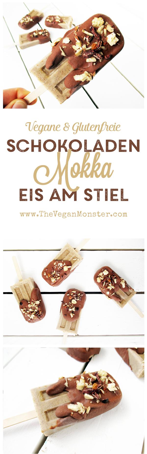 Veganes Glutenfreies Milchfreies Schokoladen Mokka Eis am Stiel ohne Kristallzucker Rezept