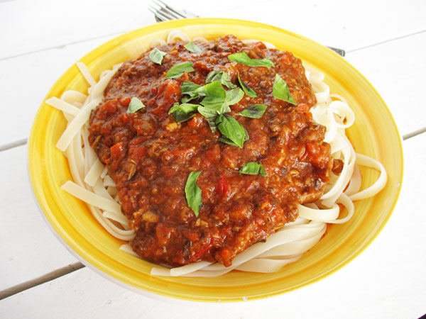 Vegan Gluten-free Meat-fre Soy-free Nut-free No-Tomato Bolognese Sauce Recipe